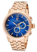 Blue Textured Dial 18k Rose Gold Plated Stainless Steel