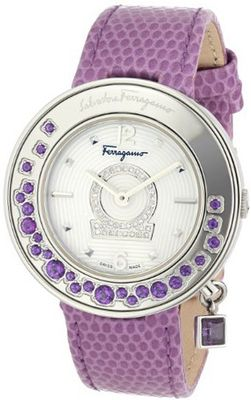 Salvatore Ferragamo FF5040013 Gancino Sparkling Polished Stainless Steel White Guilloche Dial Diamond