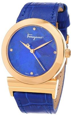 Salvatore Ferragamo FG2020013 Grande Maison Gold Ion-Plated Stainless Steel Blue Genuine Leather Diamond