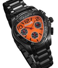 Black Metal Bracelet Triangle Orange Dial Multifunction 24 Hr Day Date Sarastro AQ202509G