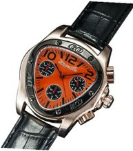 Designer Triangle Orange Dial Black Leather Strap Multifunction 24 Hr Day Date Sarastro AQ202503G