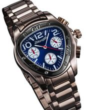 Dress Brown Metal Bracelet Triangle Blue Dial Multifunction 24 Hr Day Date Sarastro AQ202497G