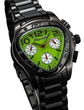 Fashion Black Metal Bracelet Triangle Green Dial Multifunction 24 Hr Day Date Sarastro AQ202508G