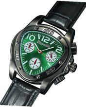 Fashion Triangle Green Dial Black Leather Strap Multifunction 24 Hr Day Date Sarastro AQ202504G
