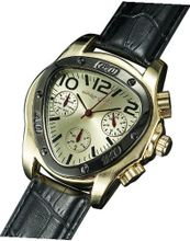 Gents Classic Triangle Gold Case Black Leather Strap Multifunction 24 Hr Day Date Sarastro AQ202507G