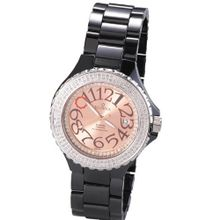 Scorva Ceramic Black Swiss Mvement Date Display One Hundred Ninety Seven Genuine (197) Diamonds Exclusive To Amazon.Com Perfect Gift For Christmas Life Time Warranty Diamond Setting De Rochale STP1037