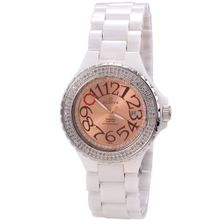 Scorva Ceramic White Swiss Movement Date Display One Hundred Ninety Seven Genuine (197) Diamonds, Exclusive To Amazon.Com. Perfect Gift For Christmas Life Time Warranty Diamond Setting, Blanca Charmane STP1033