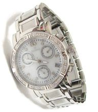 Scorva Round Diamond Chronograph Solid Stainless Steel Top Grade Genuine Diamonds (0.14carats) Three Subdials Face Exclusive On Amazon.Com Perfect Gift Life Time Warranty On Diamond Setting White Ceramic Face STP1349LJW
