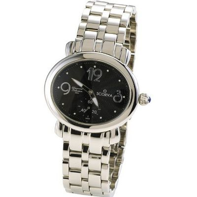 Scorva Solid Stainless Steel Ladies Steel Bracelet Swiss Movement. Exclusive On Amazon.Com. Perfect Gift For Christmas, Valentines Day, Mothers Day At This Affordable Price. Ovalante Noir STP1004