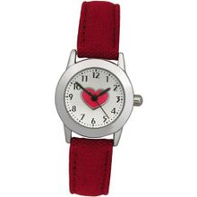 Limit Girls Red Heart Silver Dial Red Fabric Strap 6454