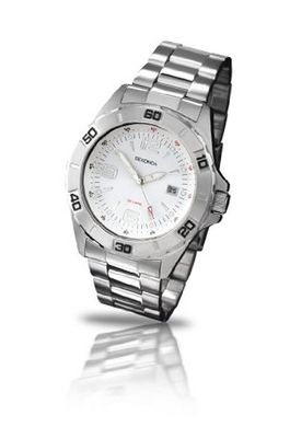 Sekonda Quartz with White Dial Analogue Display and Silver Stainless Steel Bracelet 3446.27