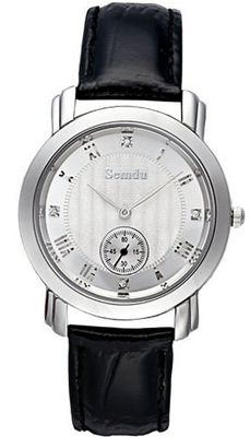 Semdu SD9003G Stainless Steel and Black Leather White Dial