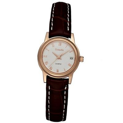 Semdu SD9010L Rose Gold and Brown Leather White Dial