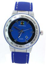 SHAO PENG Calendar Date Blue Rubber Strap Waterproof Stainless Steel Analog Quartz es