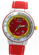 SHAO PENG Calendar Date Red Rubber Strap Waterproof Stainless Steel Analog Quartz es