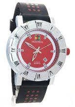 SHAO PENG Date Black Rubber band Water Resistant Red Polka Dot Analog Quartz es