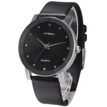 SINOBI Crystal Elegant  Black Quartz Leather Wrist Quartz Gift SNB021