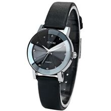 SINOBI Crystal  Lady Black Quartz Leather Wrist Quartz Cool SNB023