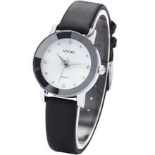SINOBI Crystal Small Case White Dial Lady Analog Black Leather Quartz SNB024