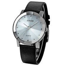 SINOBI Crystal White Dial  Quartz Black Leather Wrist Gift SNB022