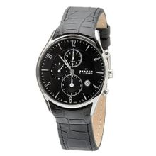 Skagen 329XLSLB Black Dial Chronograph With Black Leather Band