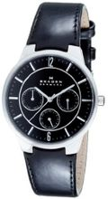 Skagen 331XLSLB Steel Black Leather Multi-Function