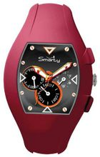 Smarty Chrono Unisex Quartz with Black Dial Chronograph Display and Red Silicone Strap SW040G