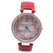 Smays Big Dial Red Leather Female A1224 -Rose Gold