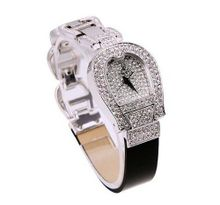 Smays Black Leather Full Rhinestone Female A1110 -Silver