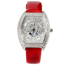 Smays Casual CZ Diamond Female with Red Leather band A741 -Silver