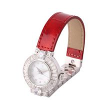Smays Genuine Red Leather Band Czech Rhinestone Fashion es for  A1168 -Silver