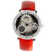 Smays Lucky Rotate Gear Red Leather Band Crystal Ladies A1240 -Silver