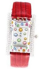 Smays Red Leather Band Crystal  A680 -Silver