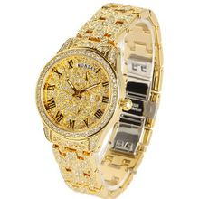 Smays Retro Rome Dial Steel and Rhinestone Fashion Female A1222 -Gold