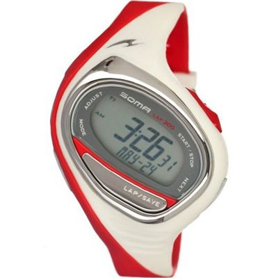 Soma Running 300 (Grey Dial; Red Band; Silver Bezel; Black Marker)