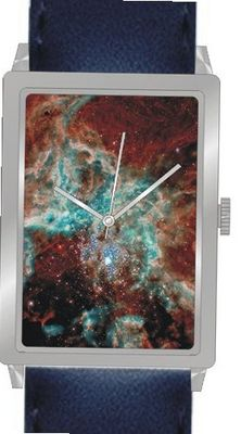 """30 Doradus in the Large Magellanic Cloud"" Is the Hubble Image on the Dial of the Polished Chrome Rectangle with a Navy Blue Leather Strap"