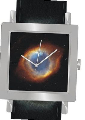 """Eye of God"" Is the Hubble Image on the Dial of the Polished Chrome Square Shape with a Black Leather Strap"