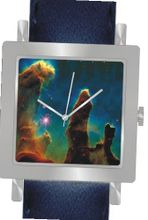 """Gaseous Pillars in M16 Eagle Nebula"" Is the Hubble Image on the Dial of the Polished Chrome Square Shape with a Navy Blue Leather Strap"