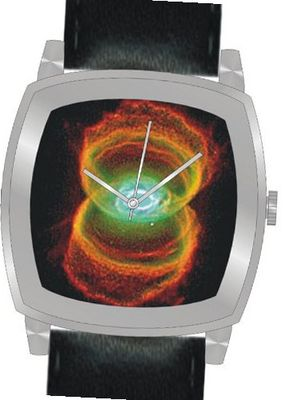 """Hourglass Nebula"" Is the Hubble Image on the Dial of the Polished Chrome Cushion Shape with a Black Leather Strap"
