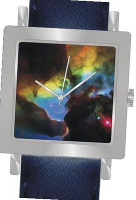 """Lagoon Nebula Detail"" Is the Hubble Image on the Dial of the Polished Chrome Square Shape with a Navy Blue Leather Strap"