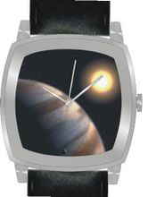 """Planet Star HD 209458"" Is the Hubble Image on the Dial of the Polished Chrome Cushion Shape with a Black Leather Strap"