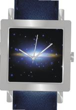 """Sombrero Galaxy"" Is the Hubble Image on the Dial of the Polished Chrome Square Shape with a Navy Blue Leather Strap"