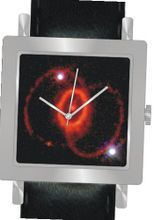 """Supernova 1987A"" Is the Hubble Image on the Dial of the Polished Chrome Square Shape with a Black Leather Strap"