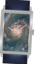 """Whirlpool Galaxy M51"" Is the Hubble Image on the Dial of the Polished Chrome Rectangle with a Navy Blue Leather Strap"