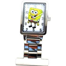 Spongebob Squarepants Rectangular White Dial Nurses Fob SB012