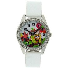 Spongebob Squarepants White Strap Stone Set Bezel Girls Quartz SB07A