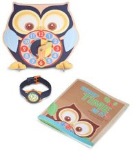 Sprout Kids' ST/1050BLUSET Blue Organic Cotton Strap Bamboo Dial and Time Teacher Clock Set