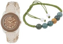 Sprout ST/1053SET Beaded Bracelet and Easy-to-Read Cork Dial Braided Hemp Strap Set