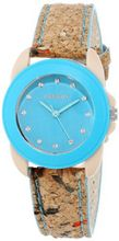 Sprout ST/1057BLCK Swarovski Crystal Accented Blue Dial Natural Cork Strap