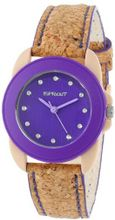 Sprout ST/1057PRCK Swarovski Crystal Accented Purple Dial Natural Cork Strap